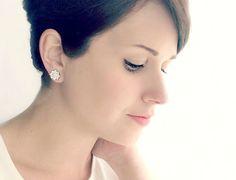 Starburst Cubic Zirconia Stud Earrings. Small Silver Crystal Post Earrings. Faux Diamond + Silver Bridesmaid Earrings. Simple Bridal Jewelry