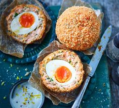 Smoked salmon Scotch eggs - - Smoked salmon and eggs is a cracking breakfast combination – take it to the next level with these Scotch eggs, flavoured with herbs, capers, lemon and cayenne. Bbc Good Food Recipes, Egg Recipes, Recipies, Smoked Salmon And Eggs, Smoked Salmon Recipes, Scotch Eggs Recipe, Egg Pie, Fish And Seafood, Seafood Dishes