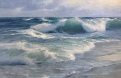 Onshore Surf, Donald Demers, oil on canvas panel