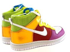 New Nike Dunk High Premium Rainbow Gold/White/Pink/Red Fashion Women Sneakers Shoes