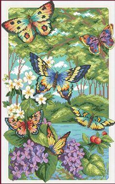 Купить Бабочки летают в лесу счетный крест DMC вышивки крестом DIY 14CT   стежка комплект ручной вышивки рукоделиеи другие товары категории Cross-Stitchв магазине JCSOYFULCROSSSTITCH storeнаAliExpress. fli и fly мультфильм