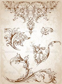 Buy Vintage Victorian Floral Elements by Artness on GraphicRiver. Vector vintage Victorian floral elements for design. Zip file contains fully editable vector file, transparent . Vintage Flower Tattoo, Vintage Flowers, Tattoo Vintage, Images Alphabet, Motif Arabesque, Ornament Drawing, Tatuajes Tattoos, Victorian Design, Victorian Pattern