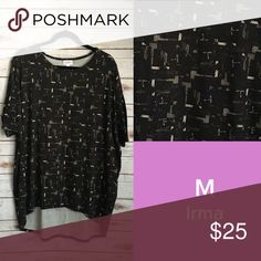 NWT!! ✨2nd ITEM OF THE DAY SALE✨LuLaRoe Irma NWT!! Black background with Olive ish design Irma tunic!  These run Large. Size down one to two sizes. LuLaRoe Tops