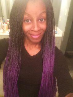 Purple ombre box braids I did on myself!!! Super easy!!!