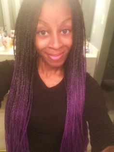 Purple ombre box braids I did on myself!!! Super easy!!!