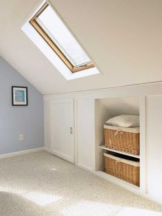 Ideal Attic storage system,Attic master bedroom ideas and Attic bedroom heat. Attic Bedroom Storage, Attic Master Bedroom, Attic Bedroom Designs, Loft Storage, Attic Design, Upstairs Bedroom, Bedroom Loft, Eaves Storage, Attic Playroom