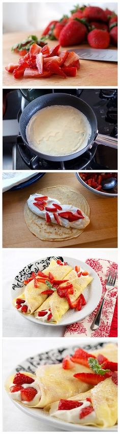 Strawberry White Chocolate Mousse Crepes Recipe
