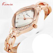 KIMIO das Mulheres de Luxo Strass Relógios Rosa de Ouro Pulseira de Aço Relógios para Senhora(China (Mainland))