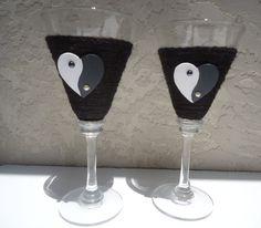 Yin Yang Wedding Toaster Black Wrapped Glasses by Chiceventsdecor, $40.00