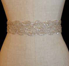 THIS ONE IS PERFECT!!!     Swarovski Rhinestone Crystal and Lux Satin Bridal by simplybridal1, $135.00