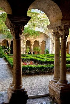 Garden courtyard at Van Gogh's asylum St Remy, France