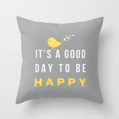Happy pillow -  Decorative throw pillows grey yellow white pillow cover home decor ornament and decoration housewares. $35.00, via Etsy.