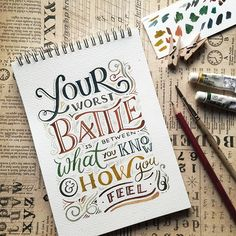 Beautiful Inspiring Ink & Watercolor Hand Lettering Projects by Abbey Sy Calligraphy Quotes Doodles, Brush Lettering Quotes, Doodle Quotes, Calligraphy Letters, Typography Quotes, Typography Letters, Watercolor Hand Lettering, Hand Lettering Art, Creative Lettering