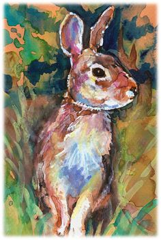 Eastern Cottontail Rabbit Artist Signed by CanyonWrensNest on Etsy