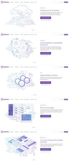 Heroku Home Banners Design Sites, Ui Ux Design, Icon Design, Leaflet Layout, Web Layout, Gui Interface, Site Vitrine, Ui Design Inspiration, Ui Web