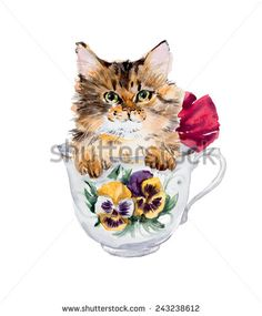 Kitten in the cup. Hand drawn watercolor illustration.