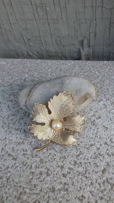 Pearl and Textured Polished Maple Fall Leaf Brooch Pin Bride Bridal Autumn September October Wedding Vintage Estate Jewelry Jewellery Gift by TheFoxandFilly on Etsy