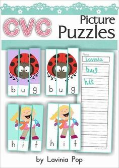 CVC Puzzles - 71 picture and word puzzles with colored and blank backgrounds.