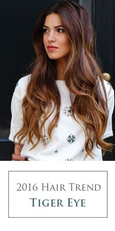 Tiger Eye hair color! Aka the perfect blend of warm browns and ribbons of caramel highlights. A stunning 2016 hair color trend for brunettes!: