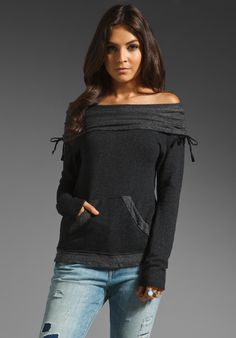 GYPSY 05 Callie Off The Shoulder Sweatshirt in Black at Revolve Clothing - Free Shipping! <3 this!