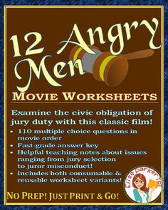 12 Angry Men Worksheets -- great movie for government and civics classes! Starring Henry Fonda, the acclaimed 1957 film that examines the civic obligation of jury duty! This teaching pack to go with the movie includes 110 multiple choice questions in movie order, detailed teaching notes on issues that range from jury selection to juror misconduct, and a fast-grade answer key that makes correcting a snap! #juryduty #12angrymen #teachwithmovies #civics #government #usgovernment #juries
