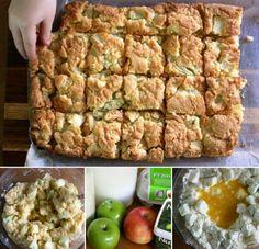 Apple Pie Slice Recipe Only 5 Ingredients Video Tutorial Apple Pie Cake, Apple Cake Recipes, Apple Desserts, Baking Recipes, Dessert Recipes, Sweet Desserts, Pear Cake, Apple Slices, Easy Cooking