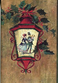 Vintage American Greetings Christmas Card: Victorian Couple on Lamp