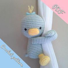 Duck curtain tieback crochet PATTERN right or left duck