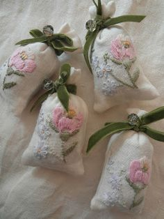 Little lavender bags made from scraps of vintage hand embroidered linen