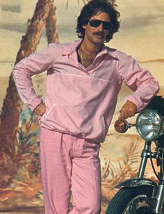 It's acceptable to wear a pink track suit as long as you're leaning on a motorcycle. 80s Ads, 1980s, 80s Costume, Track Suit Men, Hello Ladies, Retro Pop, Sick Kids, Sporty Outfits, 70s Fashion
