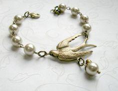 Bracelet d'oiseau en laiton perles bijoux de par botanicalbird