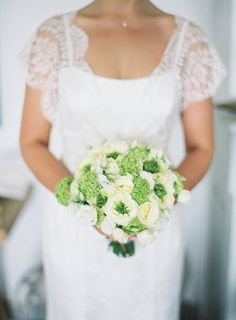Beautiful Green & White Bridal Bouquet.