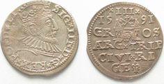 1591 Riga RIGA 3 Groschen (Trojak) 1591 GE SIGISMUND III of POLAND silver XF+! # 95139 EF+