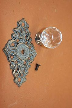 Antique Look Crystal Knob Pull Bronze Look Cast Iron, It Cast, Drawer Knobs, Drawer Pulls, Plate, Seashell Jewelry, Crystal Knobs, Bronze, Glass Knobs