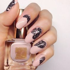 Beautiful nails 2016, Black and beige nails, Delicate beige nails, Delicate nails, Evening dress nails, Evening nails, Lace nails, Milky nails