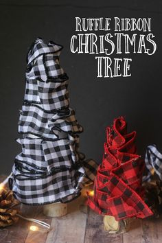 These cute Ruffle Ribbon Christmas Trees look like they came from a home decor store but are a fun and simple DIY Christmas Decor project! Handmade Christmas, Christmas Diy, Christmas Decorations, Christmas Trees, Christmas Ornament, Crafts To Do, Diy Crafts, Diy Love, Christmas Cocktails