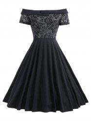Lace Trim Off The Shoulder Cocktail Dress