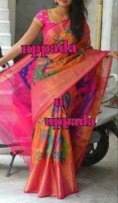 Uppada printed pure silk saree in orange and pink with wide zari border,handwoven uppada jamdani saree,Orange uppada silk saree,Partywear Cotton Saree Designs, Pattu Saree Blouse Designs, Half Saree Designs, Fancy Blouse Designs, Uppada Pattu Sarees, Handloom Saree, Fancy Sarees, Pink Half Sarees, Saree Trends