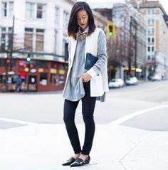 Vonvogue in a Chicwish vest, Zara sweater, Rupert Sanderson flats, and Nina Ricci clutch