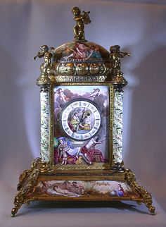 Viennese Enamel Clock with Erotic Themes, Circa 1860 - Bogoff Antique Old Clocks, Antique Clocks, Spirals In Nature, Unusual Clocks, Classic Clocks, Retro Clock, Tabletop Clocks, Wall Clock Online, Pocket Watch Antique