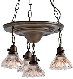 Rejuvenation Four-Light Pan Chandelier w/ Holophane Shades Vintage Industrial Lighting, Antique Lighting, Industrial Style, Art Deco Lighting, Lighting Design, Chandeliers, Chandelier Ideas, Pallet Patio Furniture, Furniture Ideas