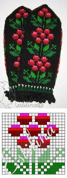 Knitting Patterns Mittens Pattern for mittens … Knitted Mittens Pattern, Fair Isle Knitting Patterns, Crochet Mittens, Knitting Charts, Knitting Stitches, Knitting Designs, Knitting Socks, Knitting Projects, Hand Knitting