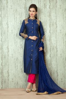 - Sherwani raw silk suit embellished with zardosi and gold bead work Ladies Suits Indian, Indian Attire, Suits For Women, Clothes For Women, Indian Wear, Pakistani Dresses, Indian Dresses, Indian Outfits, Wedding Attire For Women