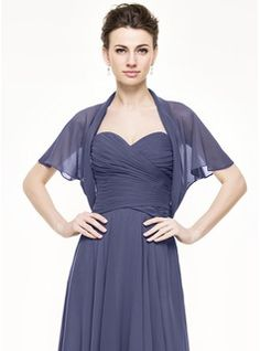 Short Sleeve Chiffon Special Occasion Wrap (013064930) - JJsHouse