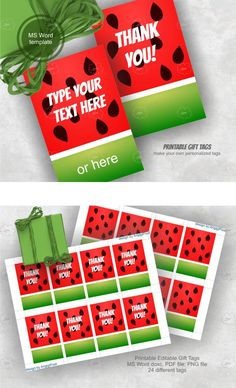 #watermelon gift tags - printable tags - editable tags - word template, PDF, PNG - DIY thank you party favor tags https://etsy.me/2x5aHuZ #supplies #digital #cardmakingstationery #red #green #watermelongifttags #printabletags #editabletags #wordtemplate #thankyou