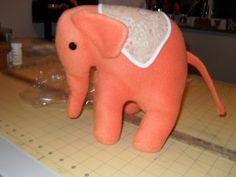 Orange Fleece Elephant by MsMartyD on Etsy, $25.00