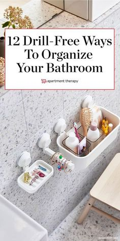 Renters rejoice: You no longer need your landlord's okay to revamp your bathroom on the cheap. We searched the web high and low and found a dozen drill-free ways you can upgrade your bathroom—all for under $40.  #bathroomideas #rentershacks #rentalbathroom #bathroomdecor #organizingideas #bathroomorganizers #organizers