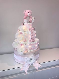 100 Best Diaper Cakes by Me :) images in 2020 Cake Pillars, Pink And White Flowers, Hat Boxes, Diaper Cakes, How To Make Cake, Brittany, Lace Trim, Baby Shower Gifts, Shower Ideas