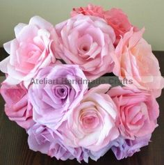 Paper flower Bouquet   Paper roses bouquet by Ateliart on Etsy, $45.00