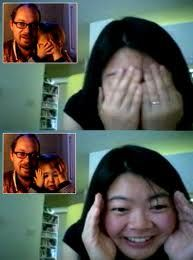 This is an image of a mother video chatting with her son and husband, who are clearly unavailable to speak with in person. However, thanks to the powers of video communication, they are able to see each other electronically in the absence of physical presence.